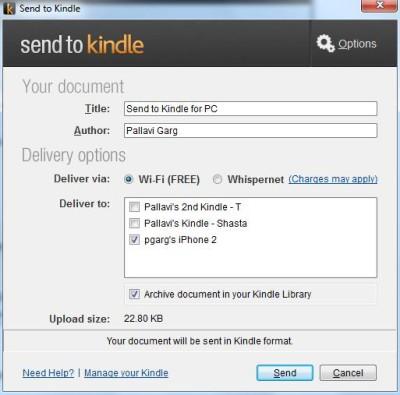 Dokumente An Kindle Senden