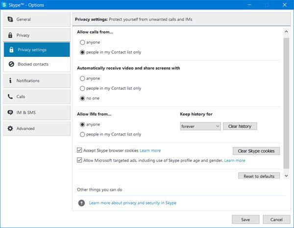 Skype Datenschutzeinstellungen, Gruppen und Videoanrufe
