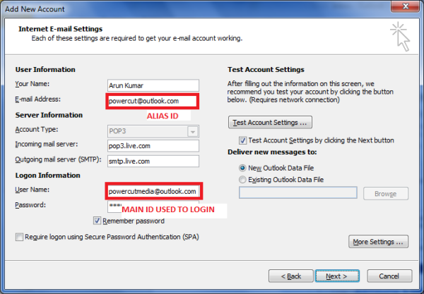 E-Mail-Einstellungen für Outlook.com, die Sie mit Outlook