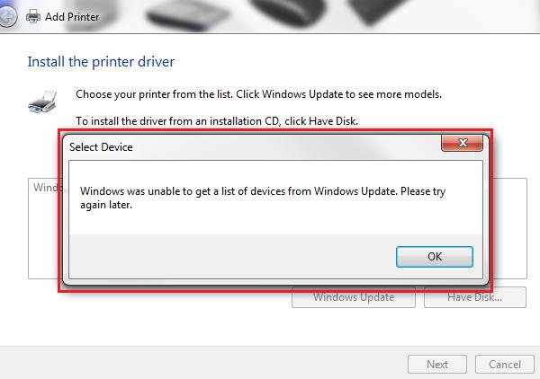 Windows konnte keine Liste der Geräte von Windows Update ...